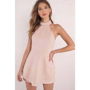 Tobi Poppy Blush Pink Halter Skater Dress Size S